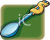 picture of a spoon with a dollar sign wrapped around the end in a vector clip art illustration clipart