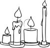 picture of assorted sizes of burning, melting candles in a vector clip art illustration clipart