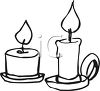 picture of two different sized burning candles in a vector clip art illustration clipart