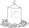 picture of a burning candle surrounded by flowers in a vector clip art illustration clipart