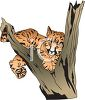 picture of a tiger cub laying in a tree in a vector clip art illustration clipart