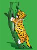 picture of a tiger cub climbing up a tree in a vector clip art illustration clipart