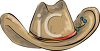 picture of a brown cowboy hat with a red tie around it in a vector clip art illustration clipart