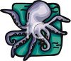 Picture of an octopus on a blue background in a vector clip art illustration clipart