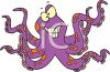 Picture Of a cartoon octopus with a funny face in a vector clip art illustration clipart