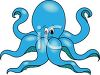picture of a blue cartoon octopus with a funny face in a vector clip art illustration clipart