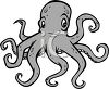 picture of an octopus with a funny face in a vector clip art illustration clipart