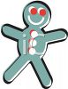 picture of a blue gingerbread man with red eyes in a vector clip art illustration clipart