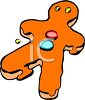 picture of a gingerbread man with orange frosting in a vector clip art illustration clipart