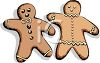 picture of a boy and a girl gingerbread cookie in a vector clip art illustration clipart