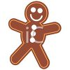 picture of a gingerbread man smiling in a vector clip art illustration clipart