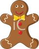 picture of a decorated gingerbread man in a vector clip art illustration clipart