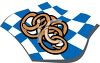 picture of a plate of pretzels on a blue and white checkered paper in a vector clip art illustration clipart