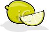 picture of a whole lemon, and a lemon wedge in a vector clip art illustration clipart