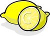picture of a whole lemon, and a half cut lemon in a vector clip art illustration clipart