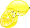 picture of a fresh whole lemon, and half of a lemon in a vector clip art illustration clipart