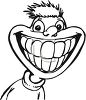 picture of a boy with a huge smile showing his teeth in black and white in a vector clip art illustration clipart