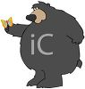 picture of a big bear holding a butterfly in a vector clip art illustration clipart