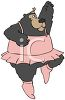 clip art illustration of a bear wearing a tutu, and ballet shoes dancing in a vector clip art illustration clipart
