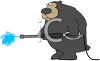 picture of a big bear holding a pressure washer in a vector clip art illustration clipart