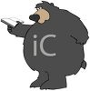 picture of a big bear reading a book in a vector clip art illustration clipart