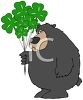 picture of a bear holding shamrock balloons in a vector clip art illustration clipart