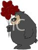 picture of a bear holding heart shaped balloons in a vector clip art illustration clipart