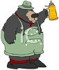 picture of a bear wearing overalls and holding a jug of beer in a vector clip art illustration clipart