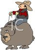 picture of a cowboy riding a bear, pulling on the reigns in a vector clip art illustration clipart