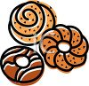 picture of a variety of donuts in a vector clip art illustration clipart
