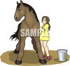 picture of a girl grooming her horse in a vector clip art illustration clipart