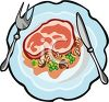 picture of a piece of ham with peas and mushrooms on a plate in a vector clip art illustration clipart