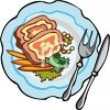 picture of ham, peas, and carrots with a fork and knife in a vector clip art illustration clipart