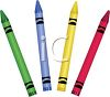 picture of four different colored crayons on a white background in a vector clip art illustration clipart