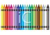 Picture of a long row of colorful crayons in a vector clip art illustration clipart
