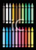 picture of colorful crayons on a black background in a vector clip art illustration clipart