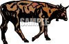 Picture of a bull walking in a vector clip art illustration clipart