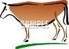 picture of a cow standing in grass in a vector clip art illustration clipart