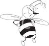 picture of an angry bee with his hands on his hips and an angry face in a vector clip art illustration clipart