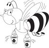 picture of a honeybee in black and white carrying buckets of honey clipart