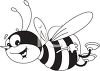 picture of a honeybee flying through the air smiling in a vector clip art illustration clipart
