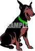 picture of a doberman pinscher sitting down in a vector clip art illustration clipart