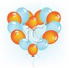 picture of a cluster of orange and blue balloons in a heart shape in a vector clip art illustration clipart