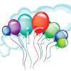 picture of a cluster of colorful balloons floating in the air in a vector clip art illustration clipart