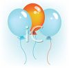 picture of 3 balloons floating in the air in a vector clip art illustration clipart