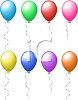 picture of several different colored balloons floating in the air in a vector clip art illustration clipart