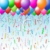 picture of a cluster of colorful balloons with streamers in a vector clip art illustration clipart