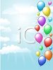 picture of a cluster of balloons floating in the clouds in a vector clip art illustration clipart