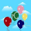 picture of an array of balloons floating in the air in a vector clip art illustration clipart
