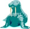 picture of a cartoon walrus in a vector clip art illustration clipart